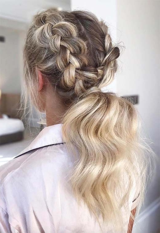 57 Amazing Braided Hairstyles For Long Hair For Every Occasion – Glowsly Regarding Blonde Ponytails With Double Braid (View 13 of 25)