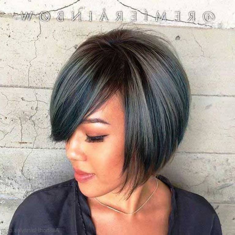 57 Cool Short Bob Hairstyle With Side Swept Bands For Layered Bob Hairstyles With Swoopy Side Bangs (View 18 of 25)