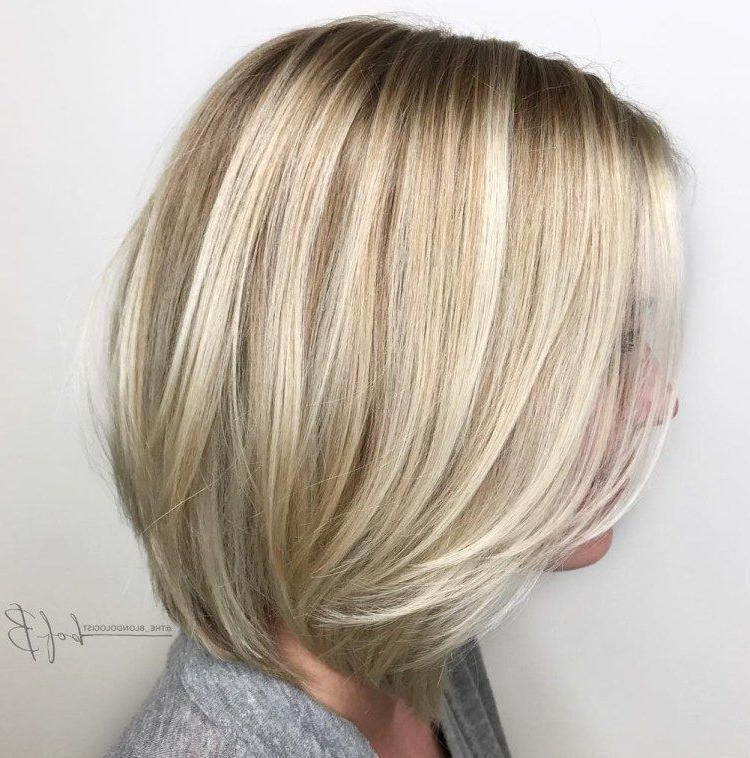 60 Beautiful And Convenient Medium Bob Hairstyles In 2018 | Hair Inside Silver Balayage Bob Haircuts With Swoopy Layers (Gallery 3 of 25)