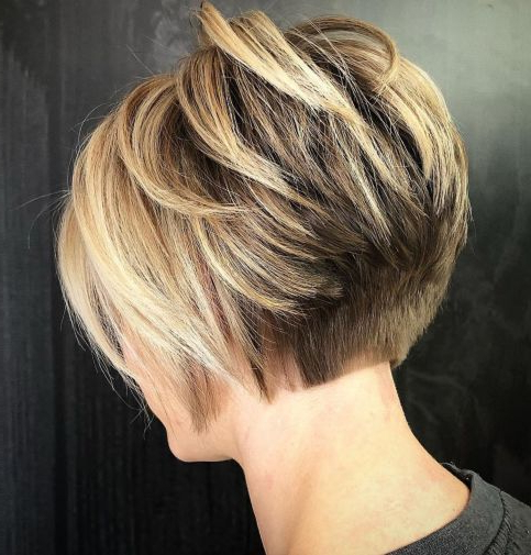 60 Classy Short Haircuts And Hairstyles For Thick Hair In 2018 Regarding Bronde Balayage Pixie Haircuts With V Cut Nape (Gallery 4 of 25)