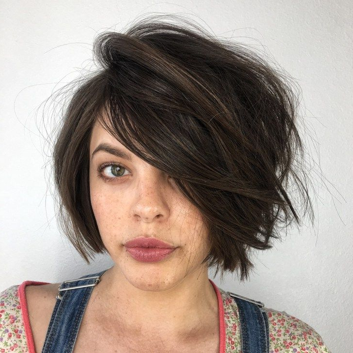 Featured Photo of Lip Length Tousled Brunette Bob Hairstyles