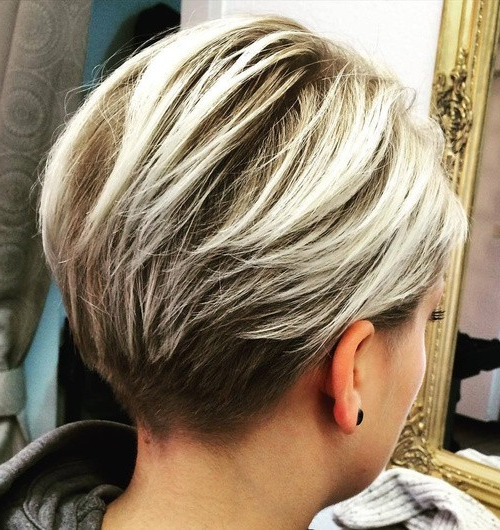 60 Cool Short Hairstyles & New Short Hair Trends! Women Haircuts 2017 In Stacked Blonde Balayage Pixie Hairstyles For Brunettes (Gallery 12 of 25)