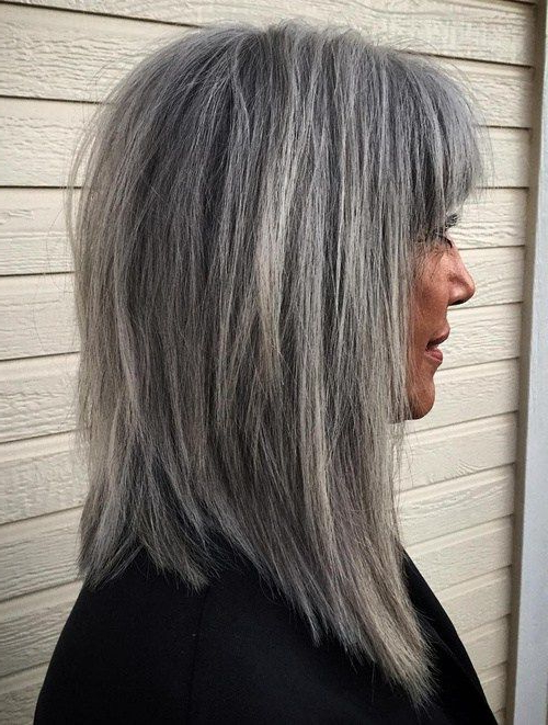 60 Gorgeous Gray Hair Styles In 2018   Hair   Pinterest   Hair, Hair Regarding Silver Balayage Bob Haircuts With Swoopy Layers (View 12 of 25)