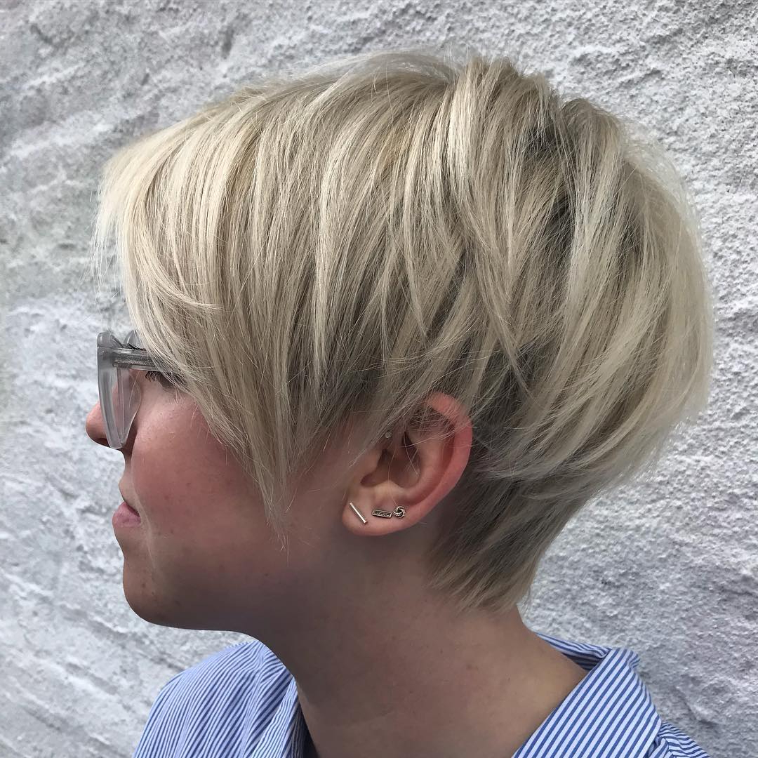 60 Gorgeous Long Pixie Hairstyles Pertaining To Tapered Brown Pixie Hairstyles With Ginger Curls (View 24 of 25)