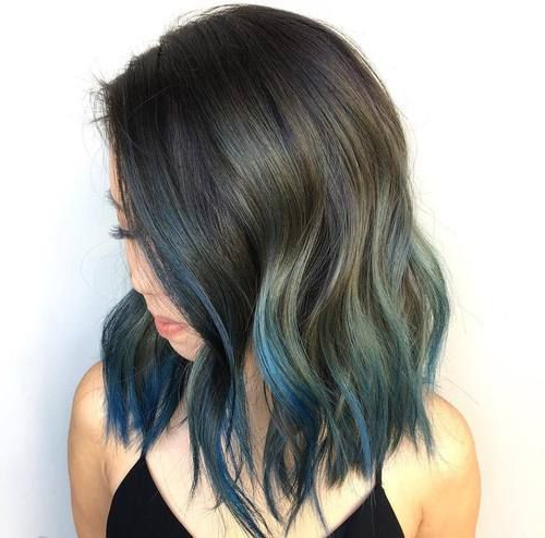 Featured Photo of Blue Balayage For Black Choppy Bob Hairstyles