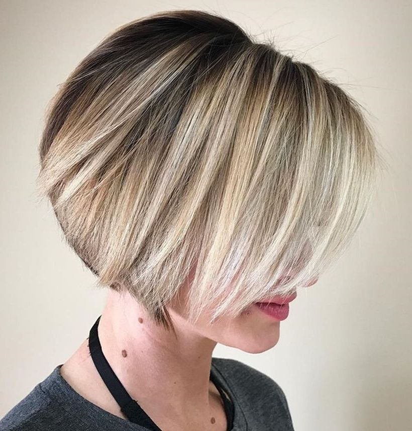 60 Most Beneficial Haircuts For Thick Hair Of Any Length In 2018 Throughout Dynamic Tousled Blonde Bob Hairstyles With Dark Underlayer (View 5 of 25)