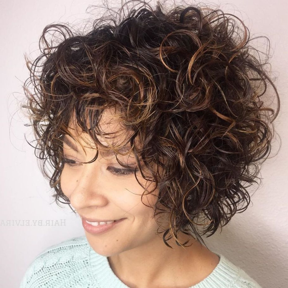 60 Most Delightful Short Wavy Hairstyles In 2018 | Curly Hair Intended For Black Wet Curly Bob Hairstyles With Subtle Highlights (Gallery 4 of 25)