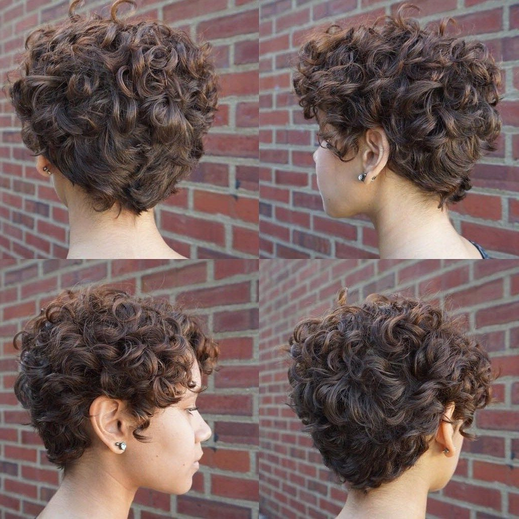 60 Most Delightful Short Wavy Hairstyles In 2018 | Fachon Pa La Ruca Inside Curly Pixie Hairstyles With V Cut Nape (Gallery 4 of 25)
