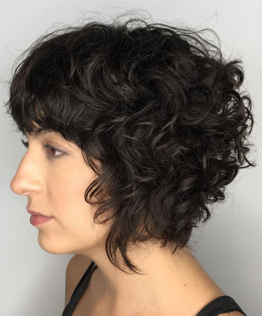 60 Most Delightful Short Wavy Hairstyles In 2018 | Hair | Pinterest With Black Wet Curly Bob Hairstyles With Subtle Highlights (Gallery 3 of 25)