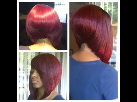60 Sew In Bob Hairstyles To Give You New Looks In 2018 Within Angled Burgundy Bob Hairstyles With Voluminous Layers (Gallery 20 of 25)