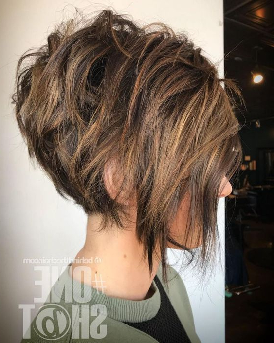 60 Short Shag Hairstyles That You Simply Can't Miss Throughout Messy Shaggy Inverted Bob Hairstyles With Subtle Highlights (View 17 of 25)