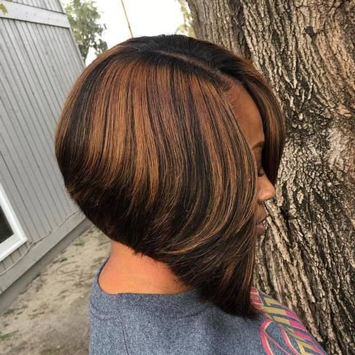 60 Showiest Bob Haircuts For Black Women In 2018 | A Black Women's Inside Straight Cut Two Tone Bob Hairstyles (Gallery 11 of 25)