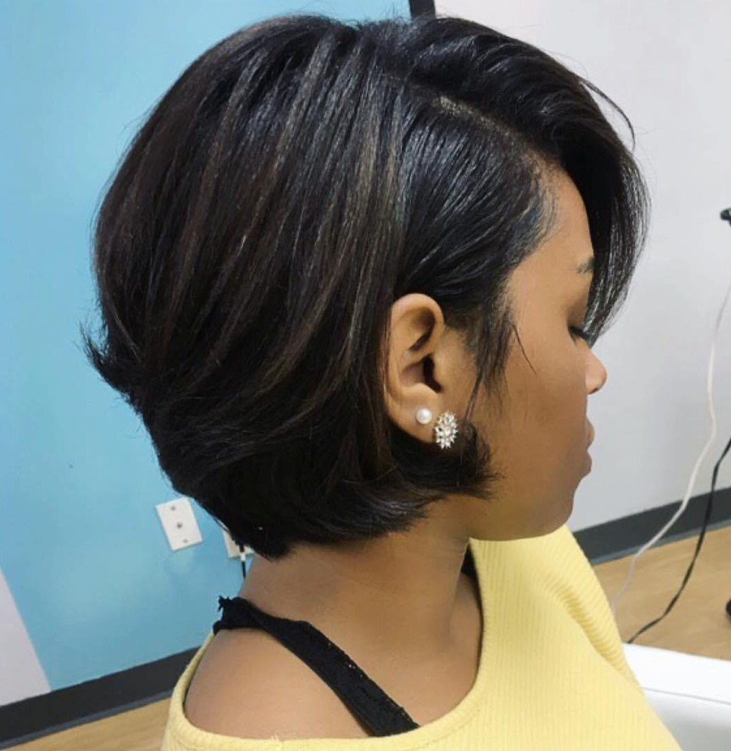 60 Showiest Bob Haircuts For Black Women Within Short Hairstyles With Feathered Sides (View 18 of 25)