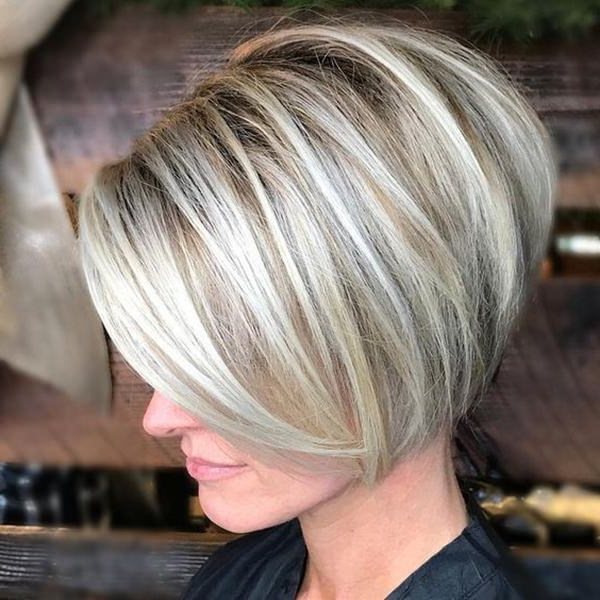 61 Charming Stacked Bob Hairstyles That Will Brighten Your Day For Stacked Sleek White Blonde Bob Haircuts (View 15 of 25)