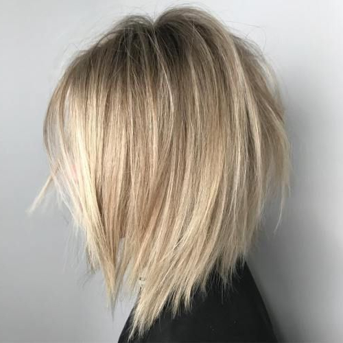 65 Medium Length Bob Haircuts: Short Hair For Women And Girls   All With Straight Textured Angled Bronde Bob Hairstyles (Gallery 5 of 25)