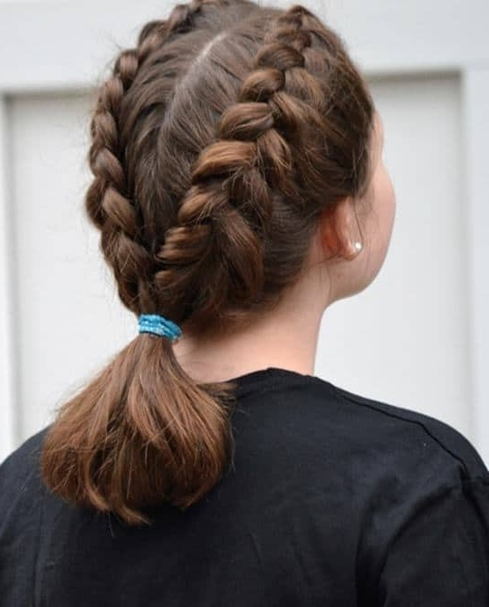 7 Delightful Ponytail Hairstyles For Your Little Girl – Hairstylecamp Pertaining To Twin Braid Updo Ponytail Hairstyles (View 9 of 25)