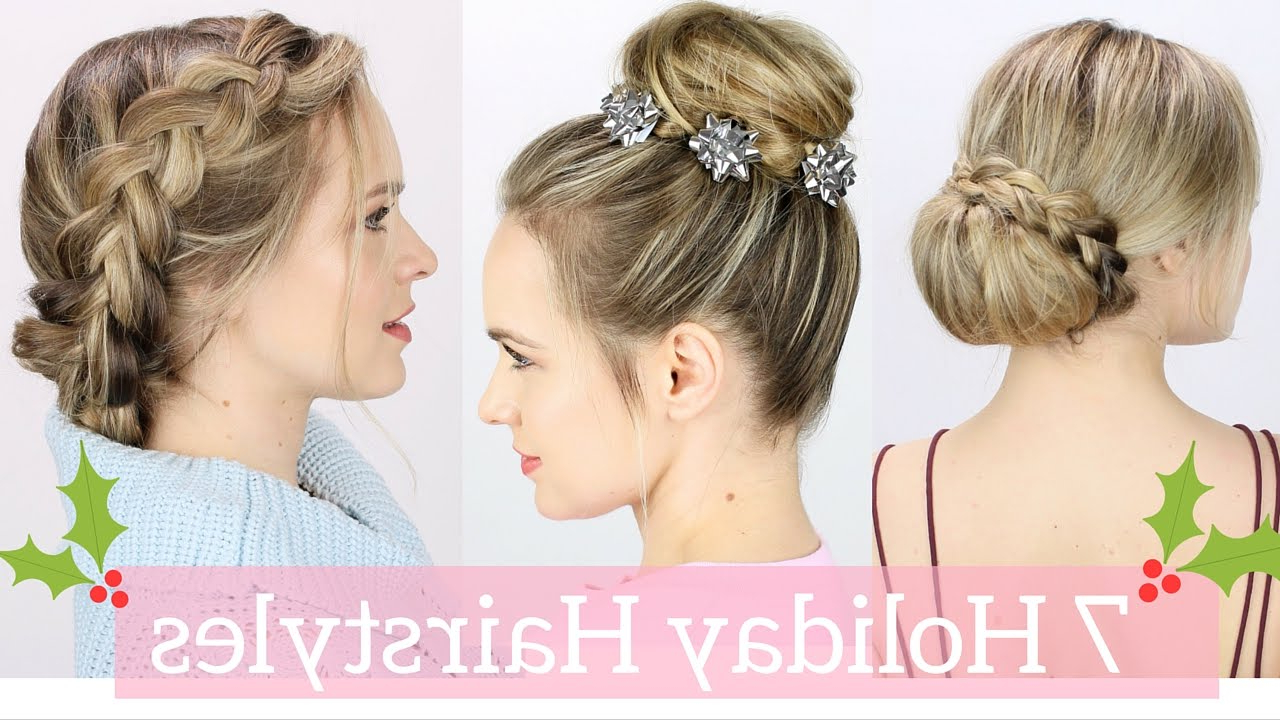7 Easy Holiday Hairstyles Tutorial – Youtube Within Short Hairstyles For Christmas Party (Gallery 8 of 25)