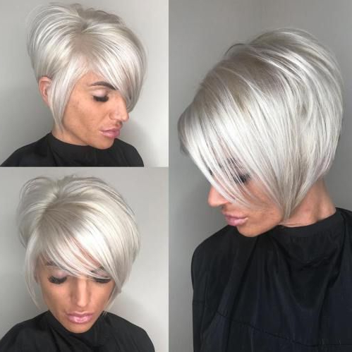 70 Cute And Easy To Style Short Layered Hairstyles In 2018 | Hair Inside Sleek Metallic White Pixie Bob Haircuts (View 8 of 25)