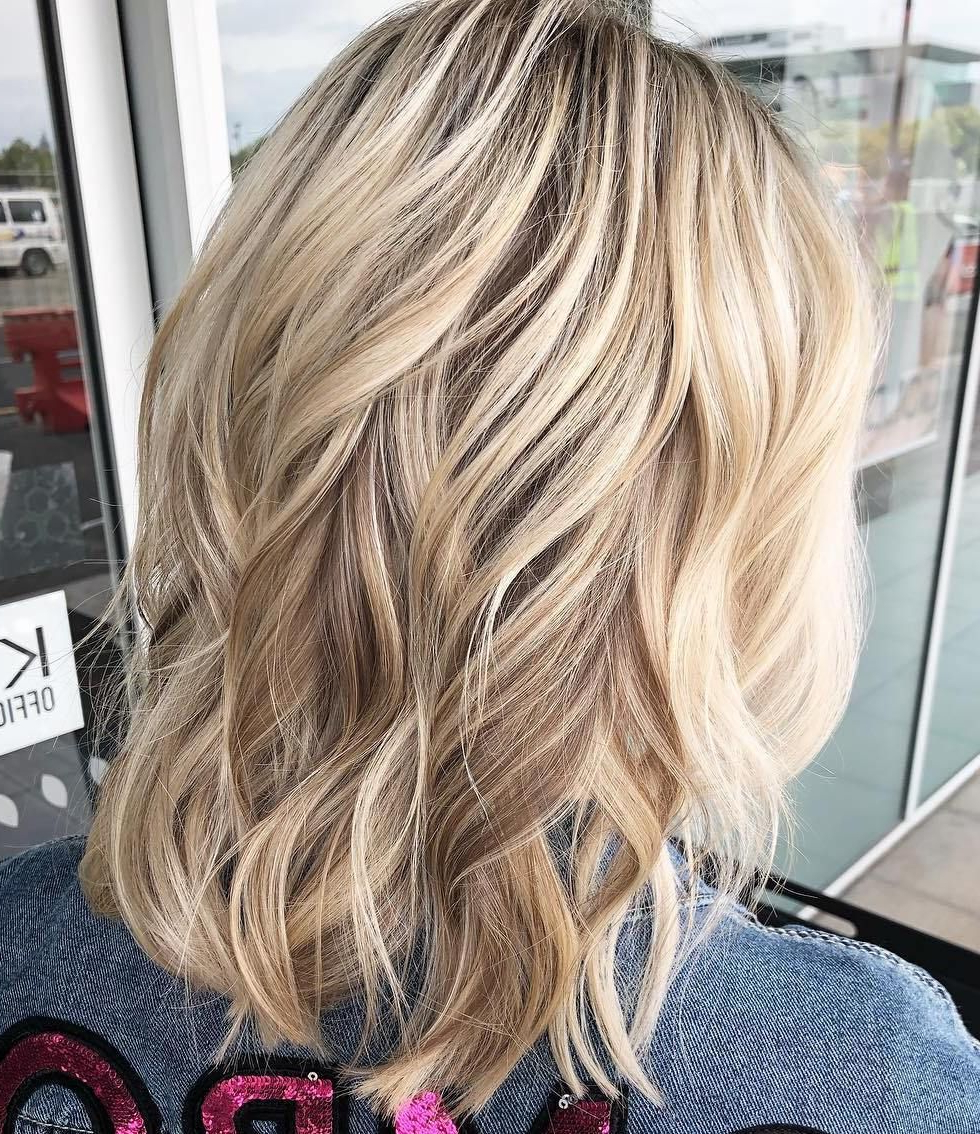 70 Darn Cool Medium Length Hairstyles For Thin Hair In 2018 | My In Angelic Blonde Balayage Bob Hairstyles With Curls (View 8 of 25)