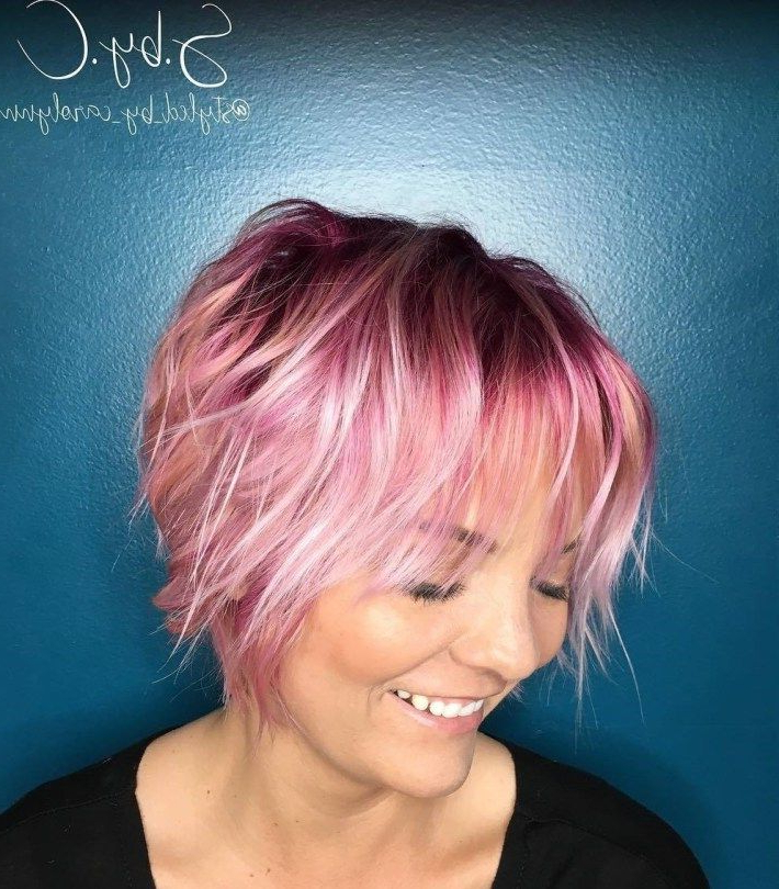 70 Devastatingly Cool Haircuts For Thin Hair | Bangs | Pinterest With Pastel Pink Textured Pixie Hairstyles (Gallery 3 of 25)