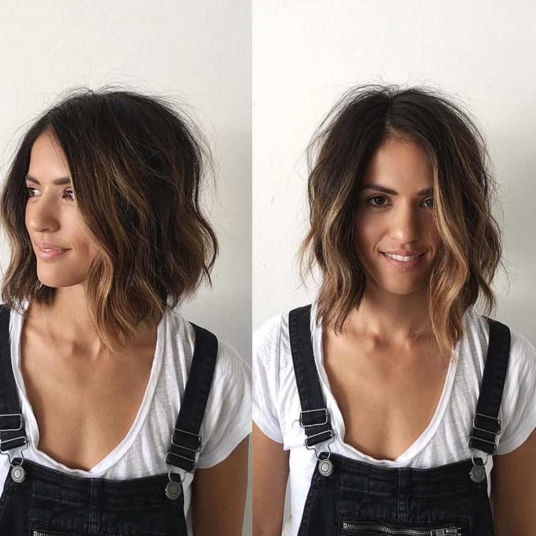 70 Devastatingly Cool Haircuts For Thin Hair In 2018 | Hairz Regarding Curly Dark Brown Bob Hairstyles With Partial Balayage (Gallery 21 of 25)