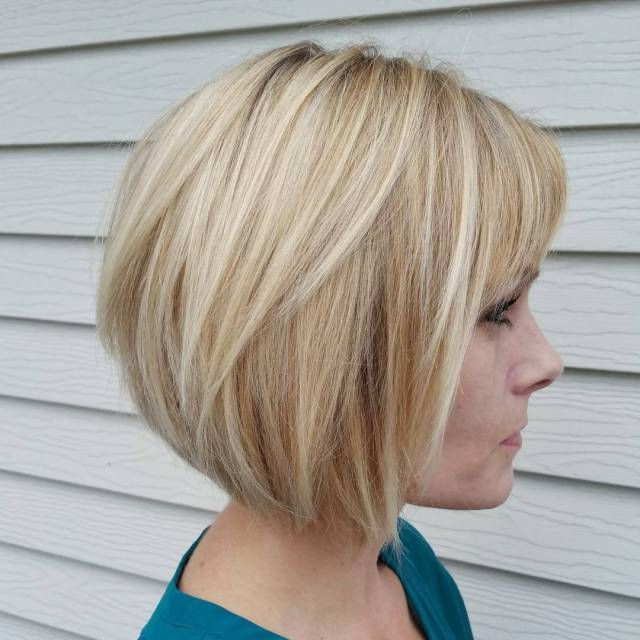 Featured Photo of Caramel Blonde Rounded Layered Bob Hairstyles