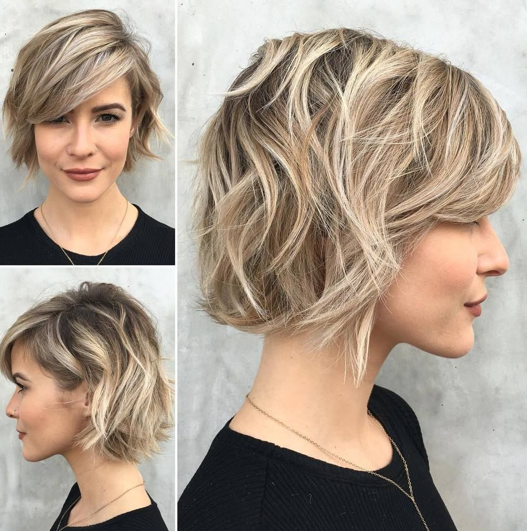 70 Fabulous Choppy Bob Hairstyles | Wavy Bobs, Bangs And Bobs Intended For Wavy Messy Pixie Hairstyles With Bangs (View 15 of 25)