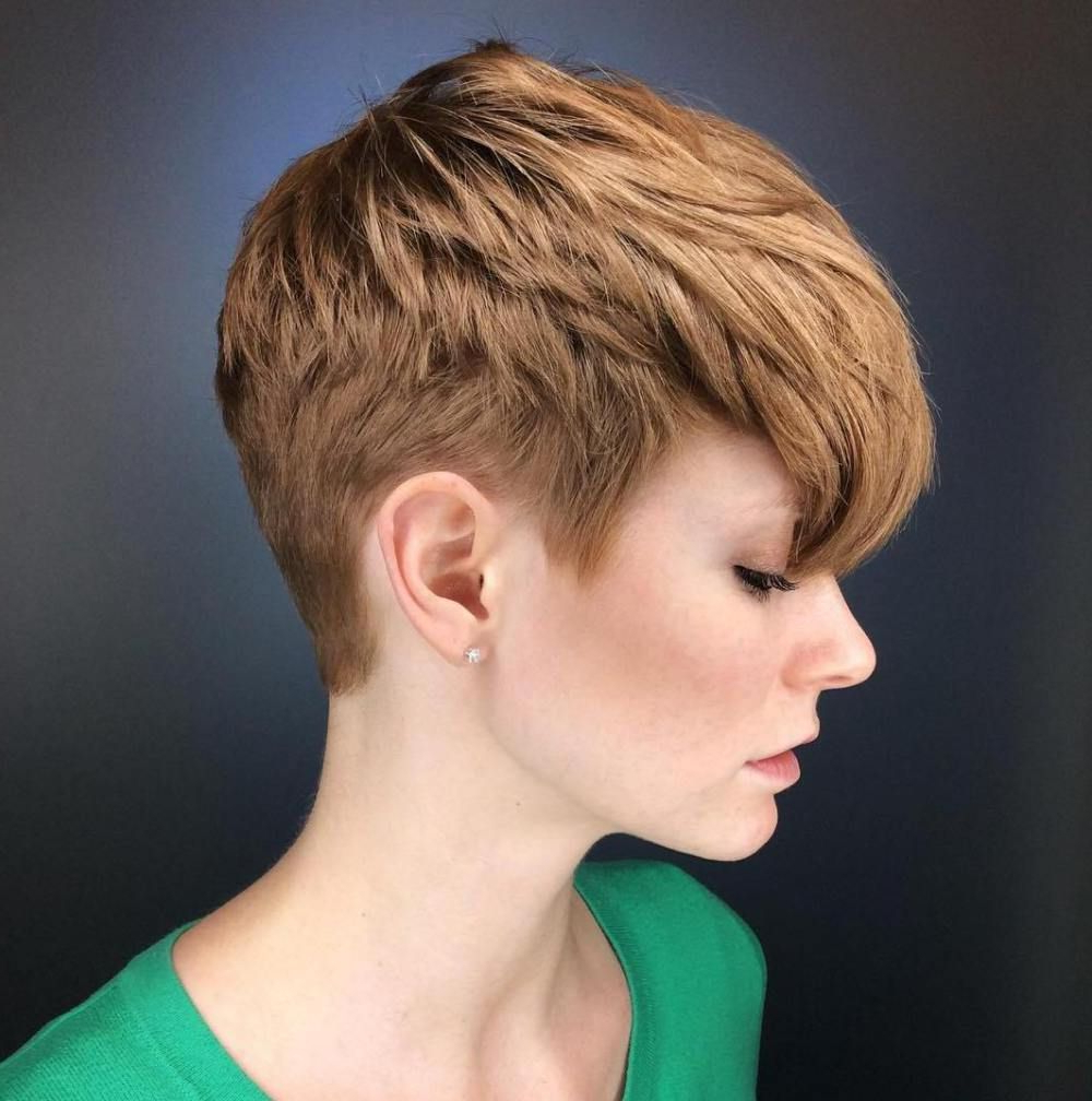 70 Short Shaggy, Spiky, Edgy Pixie Cuts And Hairstyles In 2018 Regarding Tapered Brown Pixie Hairstyles With Ginger Curls (Gallery 8 of 25)