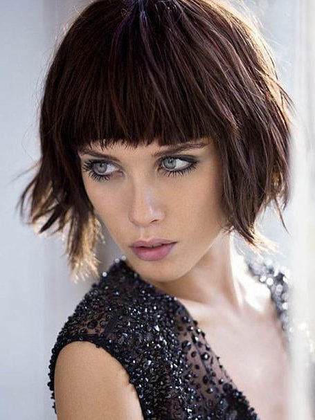 70 Stylish Bob And Lob Haircuts For You To Copy – The Trend Spotter For Textured Bob Haircuts With Bangs (Gallery 7 of 25)