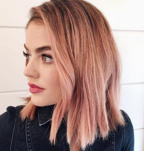 71 Alluring Rose Gold Hair Color Ideas To Try In 2018 With Hazel Blonde Razored Bob Hairstyles (View 15 of 25)