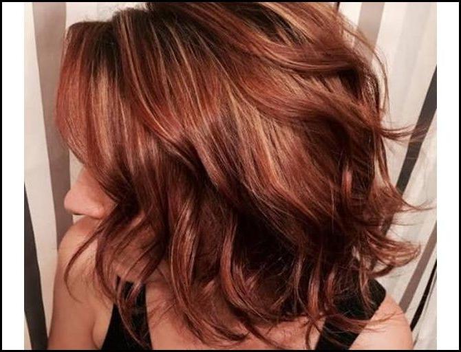 72 Atemberaubende Rote Haarfarbe Ideen Mit Highlights » Deutsch Inside Burgundy And Tangerine Piecey Bob Hairstyles (View 20 of 25)