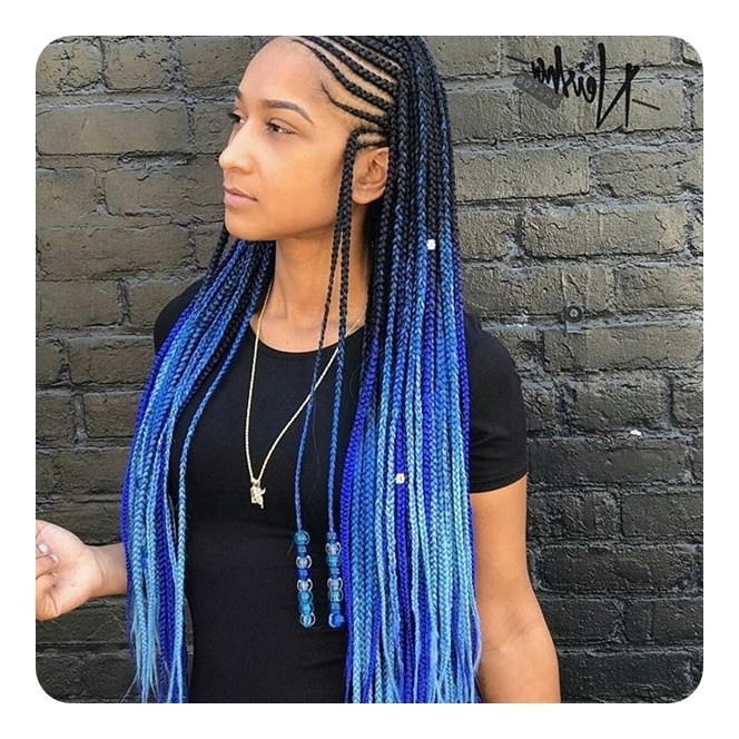 87 Gorgeous And Intricate Ghana Braids That You Will Love In Trendy Two Tone Braided Ponytails (View 25 of 25)