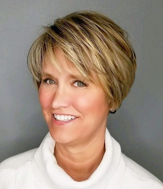 90 Classy And Simple Short Hairstyles For Women Over 50 | Cortes For Bronde Balayage Pixie Haircuts With V Cut Nape (View 18 of 25)