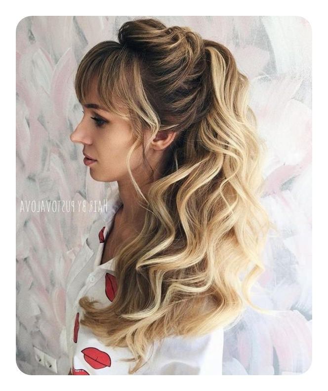97 Amazing Ponytail With Bangs Hairstyles Regarding Wavy Ponytails With Side Bangs (View 9 of 25)