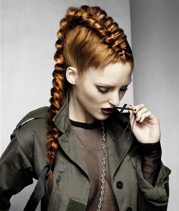 A Long Red Hairstyle From The Tartan Youth Collection Collection With Regard To Sculptural Punky Ponytail Hairstyles (Gallery 4 of 25)