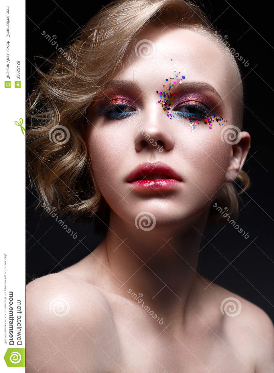 A Young Girl With A Short Haircut And Bright Creative Makeup. A Pertaining To Young Girl Short Hairstyles (Gallery 24 of 25)