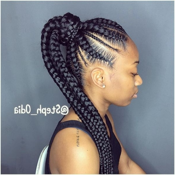 African Braids Hairstyles, Pretty Braid Styles For Black Women Within Braid And Bun Ponytail Hairstyles (Gallery 4 of 25)