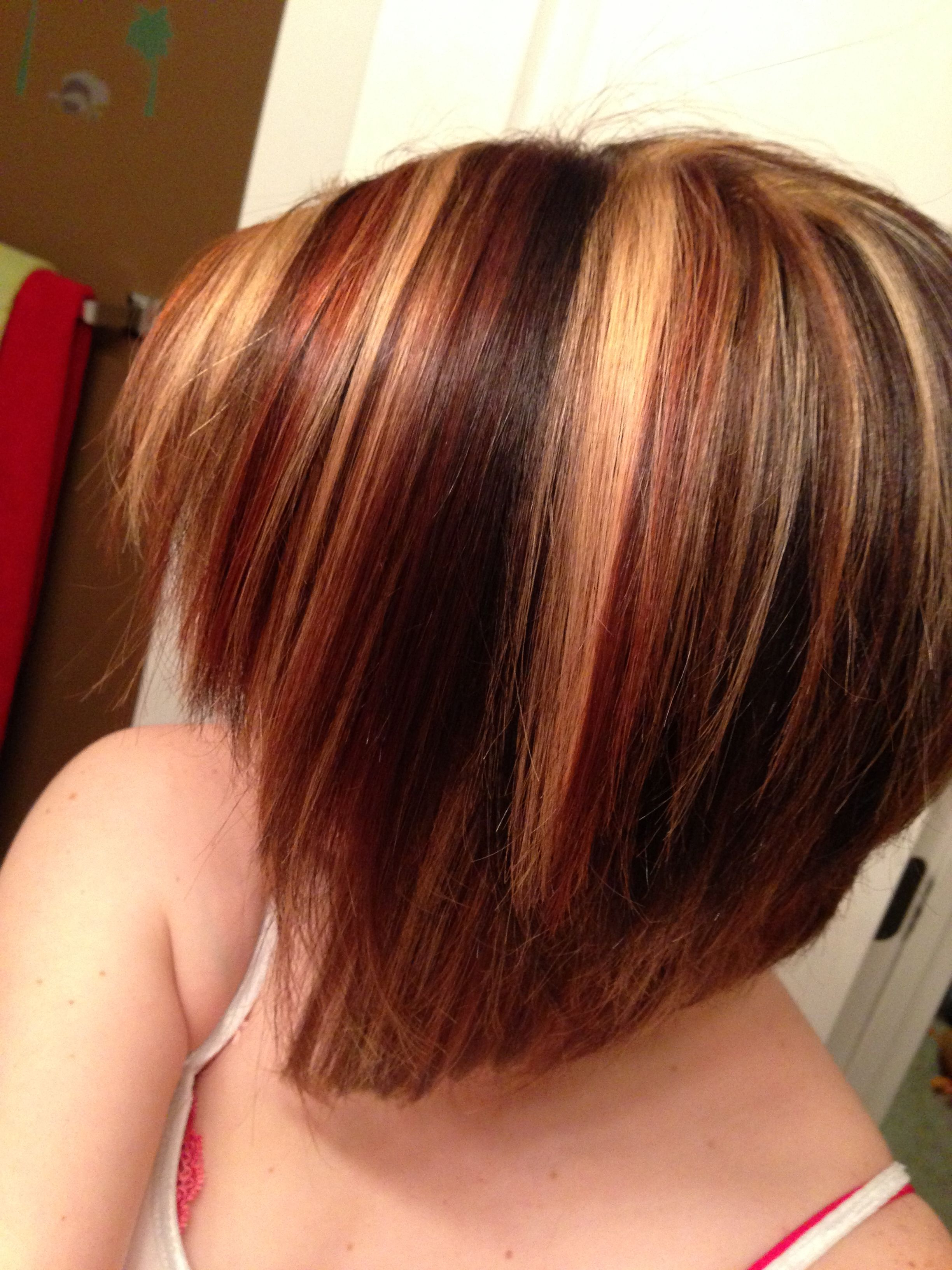 Angled Bob Short Cut With Red And Blonde Highlights | Hair And Regarding Short Haircuts With Red And Blonde Highlights (View 12 of 25)