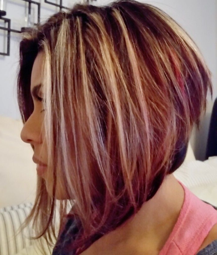 Angled Bob With Blonde Highlights, Brown And Red Lowlightsperfect Intended For Perfectly Angled Caramel Bob Haircuts (View 2 of 25)