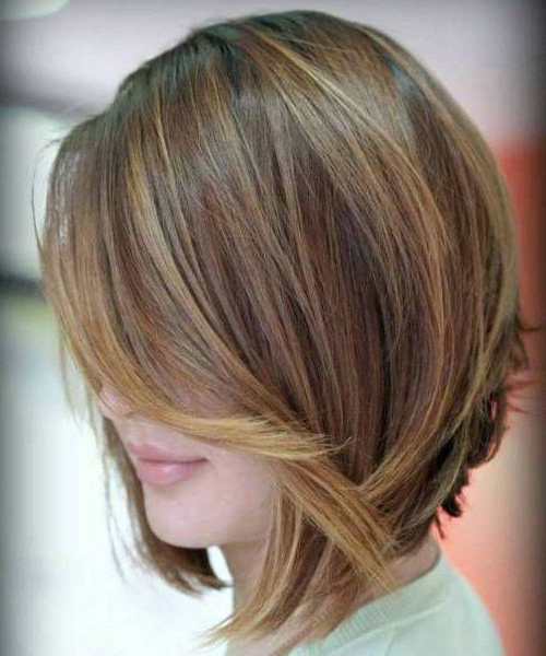Angled Layered Bob Hairstyles With Caramel Highlights | Chunk Of Styes Throughout Layered Caramel Brown Bob Hairstyles (View 11 of 25)