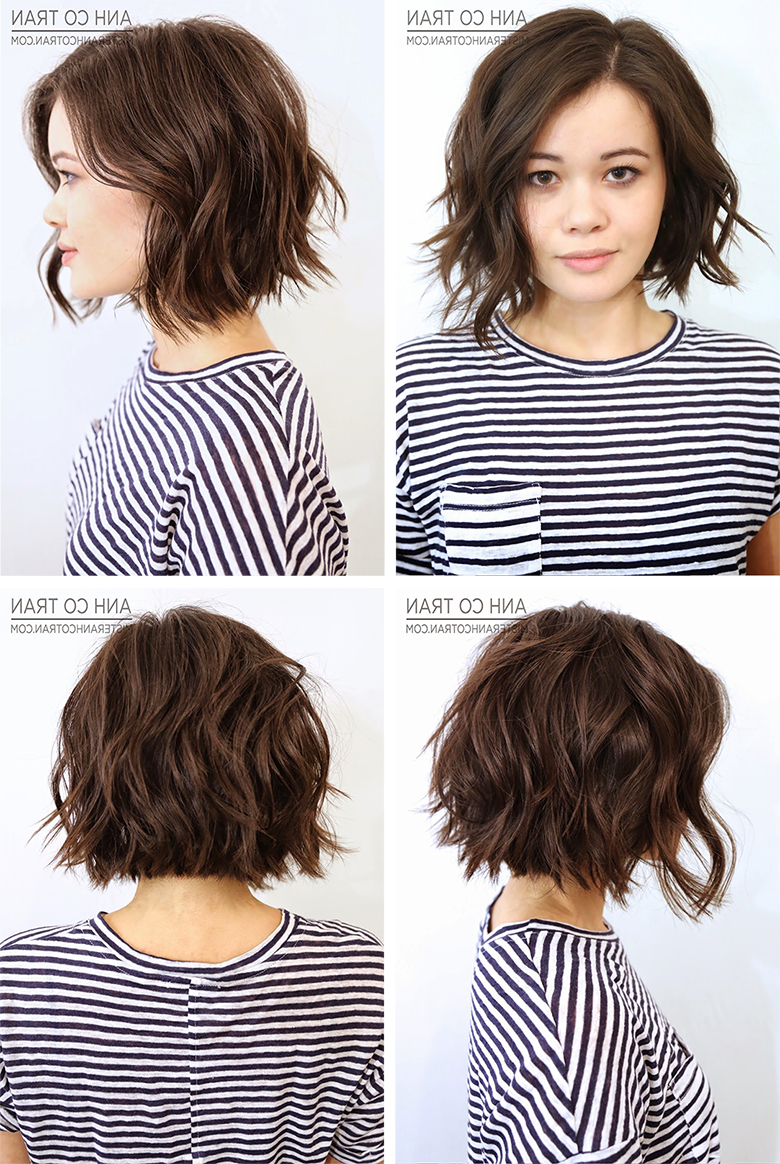 Anh Co Tran Bob (Front, Left Side, Right Side And Back View Regarding Sexy Tousled Wavy Bob For Brunettes (Gallery 13 of 25)