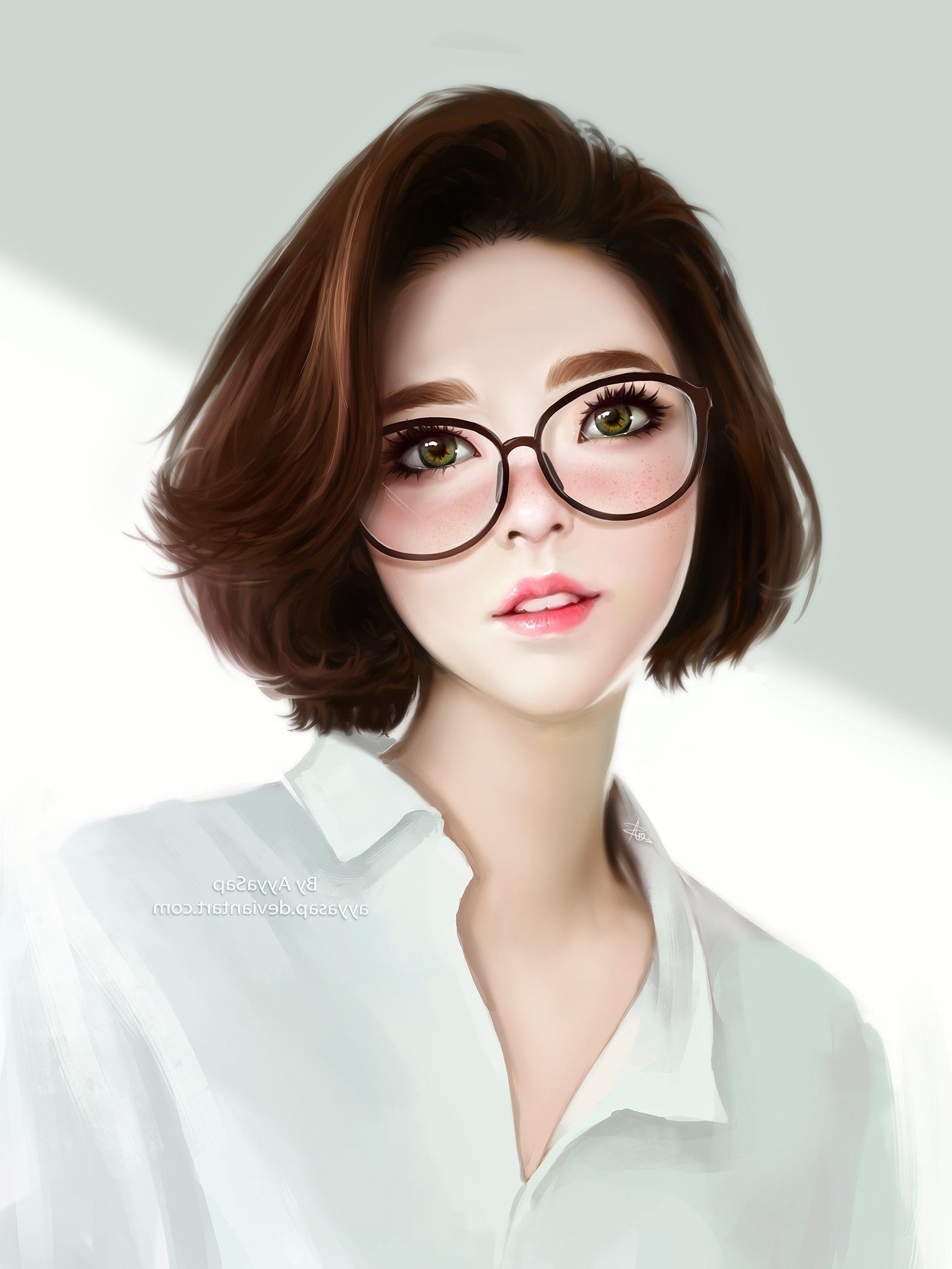 Anime Girls Short Hair Glasses Watermarked | Artwork In 2018 Within Short Hairstyles For Women With Glasses (Gallery 7 of 25)
