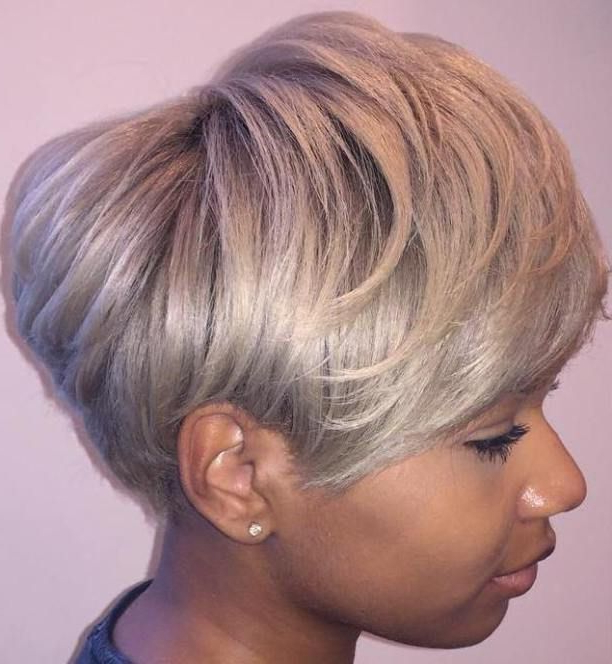 Ash Blonde Pixie Bob For Black Women | Hair Styles | Pinterest Regarding Black And Ash Blonde Pixie Bob Hairstyles (Gallery 1 of 25)