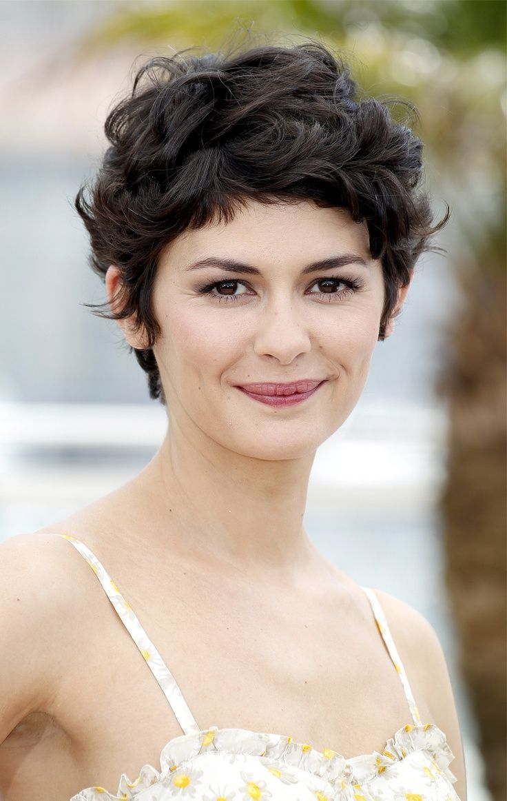 Audrey Tautou Short Haircut: Very Closely Chopped Brunette Curly Inside Trendy Short Curly Haircuts (Gallery 12 of 25)