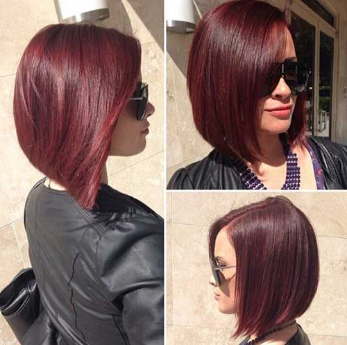 Beautiful Short Bob Hairstyles And Haircuts With Bangs | Hairstyles With Stacked Black Bobhairstyles  With Cherry Balayage (View 7 of 25)