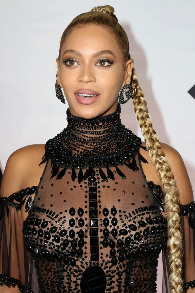 Beyonce Knowles's Hairstyles Over The Years With Regard To Fiercely Braided Ponytail Hairstyles (View 11 of 25)