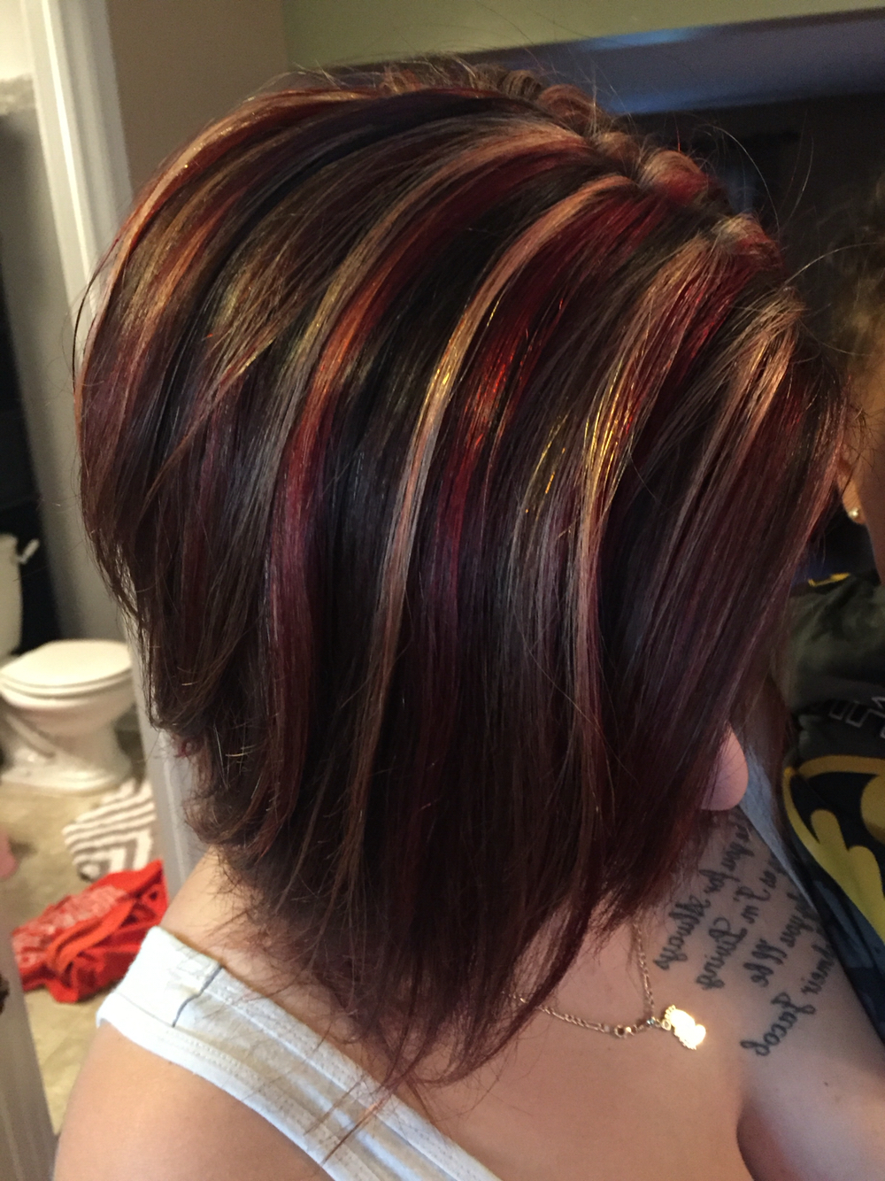 Black Hair With Red Chunky Highlights Regarding Short Haircuts With Red And Blonde Highlights (View 14 of 25)
