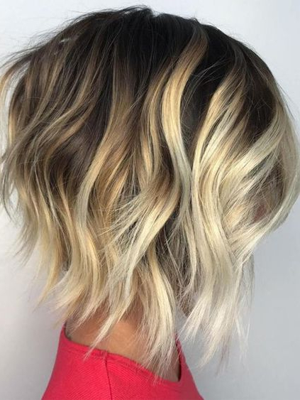 Blonde Balayage Hair Color Ideas For Angled Bob Hairstyles 2018 With Silver Balayage Bob Haircuts With Swoopy Layers (View 7 of 25)