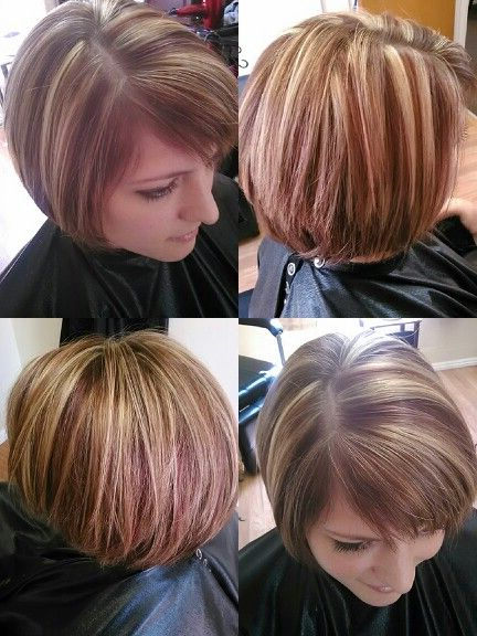 Blonde, Dark Red And Brown Streaks Highlights, Modified Bob Haircut Regarding Dark Blonde Rounded Jaw Length Bob Haircuts (View 18 of 25)