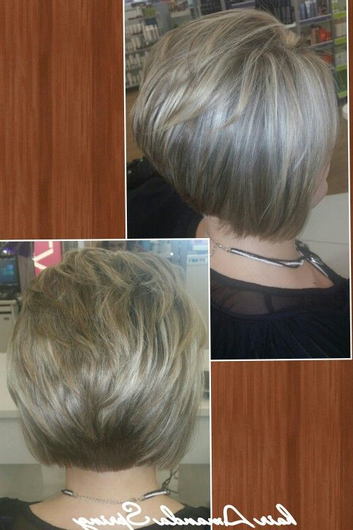 Blonde Highlight Lowlight Short Stacked Bob | Mandydoesmyhair In Regarding Short Stacked Bob Blowout Hairstyles (View 4 of 25)